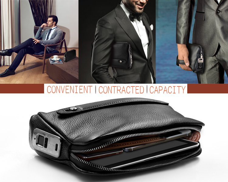 New Product Introduce Men's High-end Fingerprint Handbag