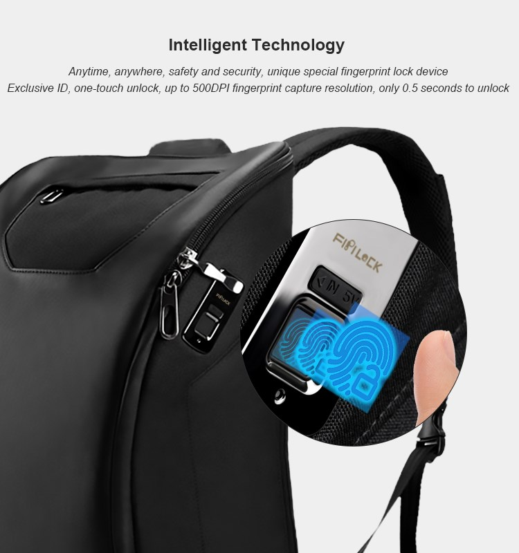 New Fingerprint smart Bag Travel Anti-theft Backpack